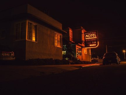 motel, sign, street