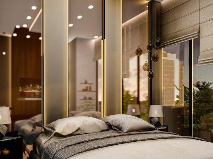hotel room, interior design, bedroom